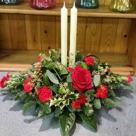 Christmas Table Arrangement with Candles